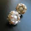 rose pearl cluster earrings