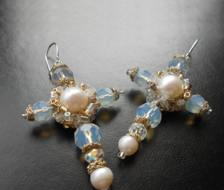 moonstone and pearls cross earrings 1